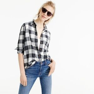 J.Crew Womens Boy Shirt 2 Charcoal Buffalo Check